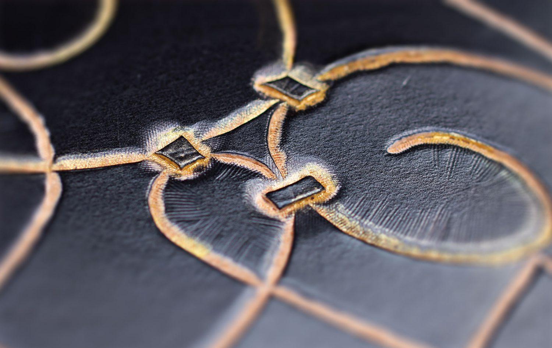 Lederbuch Ornament gold schwarz